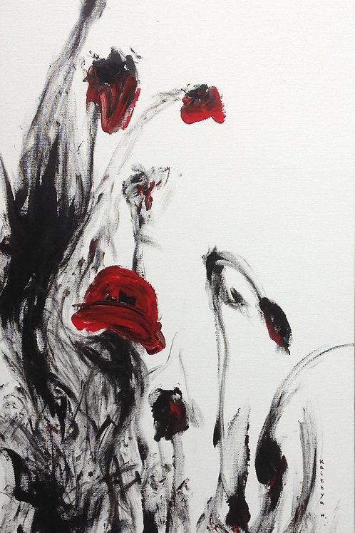 """""""Délicate robe rouge...""""  peinture sur toile"""