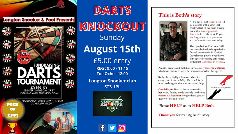 Darts Knockout Stoke on Trent, Longton Snooker Club, Sunday 15th August