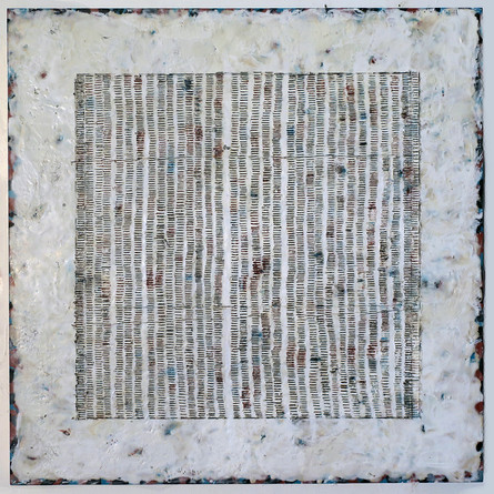 "Tabulation #3, encaustic, tints, pencil on wood, 24""x  24"", 2021"