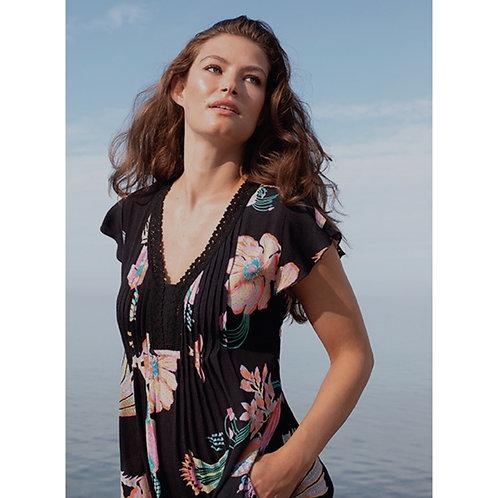Flutter Sleeve Dress with Crochet Trim / Pockets