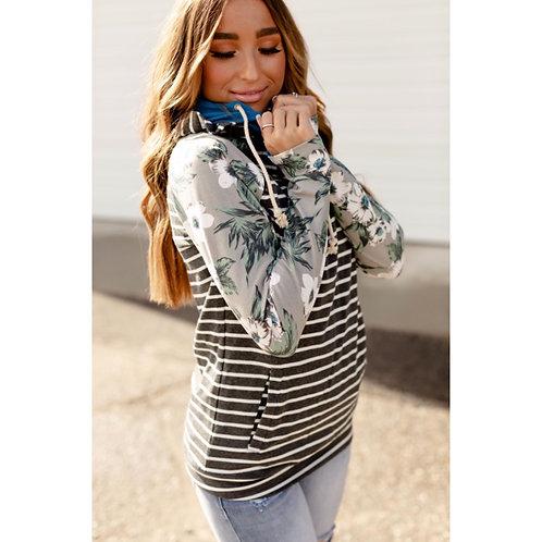 & Ave Stripe/Floral double hood hoodie