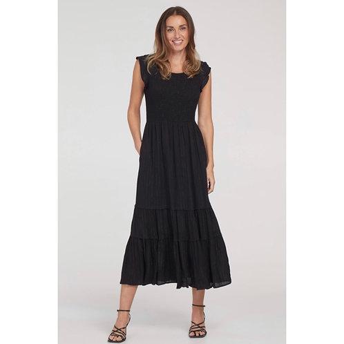 Black Smocked Dress with Pockets - Tribal