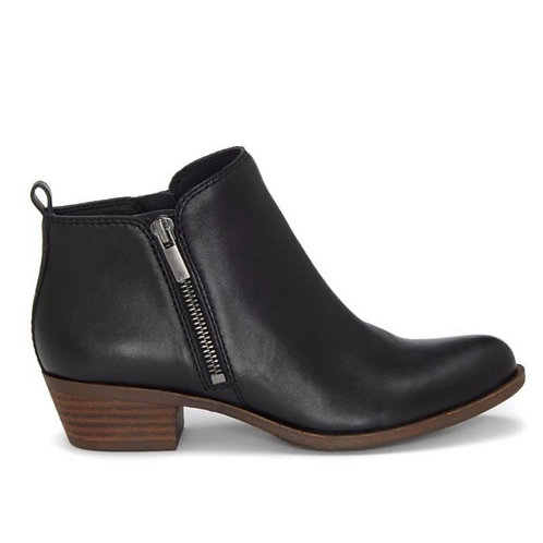 Lucky Brand- Basel - Black Leather Flat Bootie