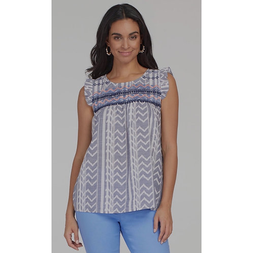 Embroidered Blouse with Frill Sleeve