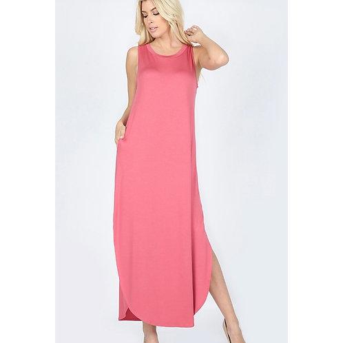 Rose Flowy Dress with Side Slit