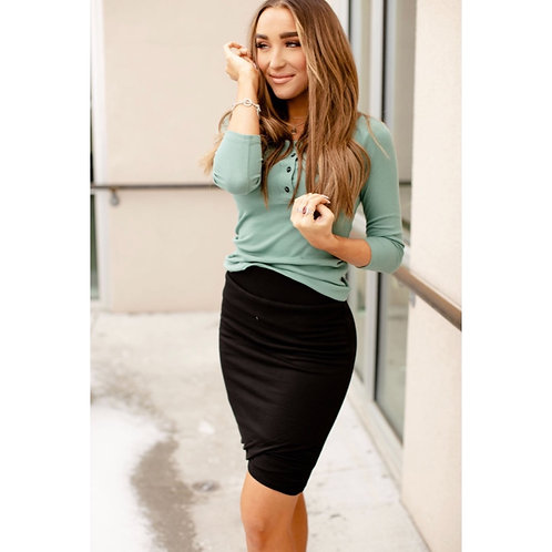 Rouced Pencil Skirt by Ampersand Ave