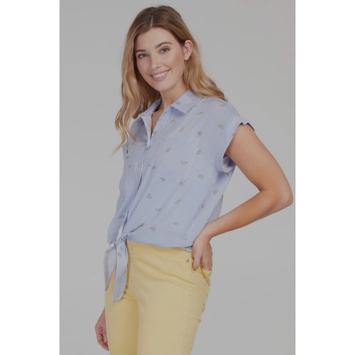 S/S Button Up with Front Tie