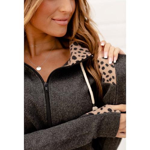 & Ave grey/leopard Half Zip Hoodie