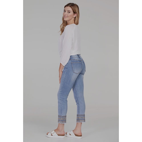 Aubrey cropped jean with detailed cuff by Tribal