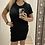 Thumbnail: Black Waffle Dress with Draw-string Waist & Pockets