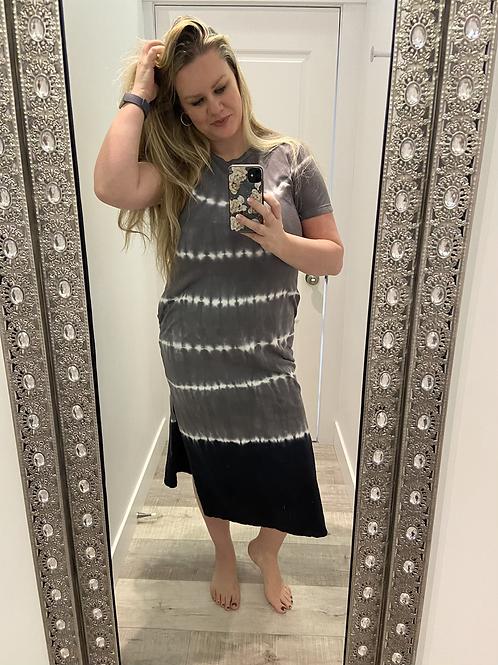 Tie Dye Maxi Dress with Side Slits
