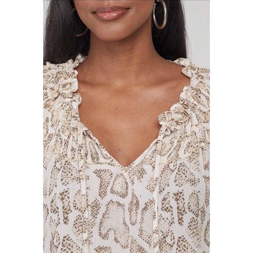 3/4 sleeve shirred neck blouse