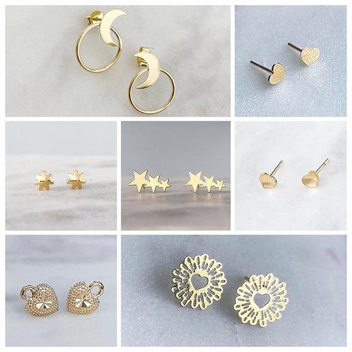 Brazilian Gold Plated Stud Earrings