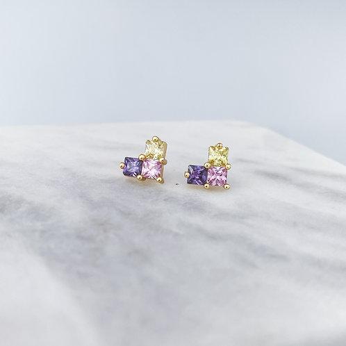 Heart Pink & Purple Zirconia Earrings