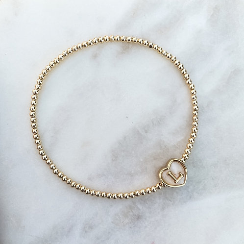 Mother of Pearl Heart Bracelet With Initial
