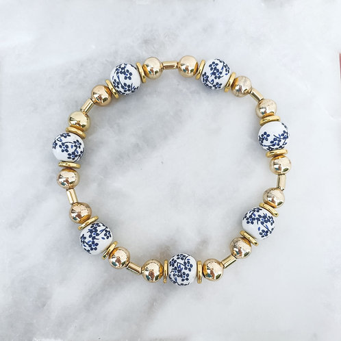 Floral Ceramic Beaded Bracelet