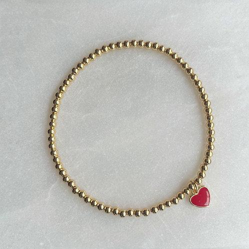 Mini Enamel Heart Ball Bracelets