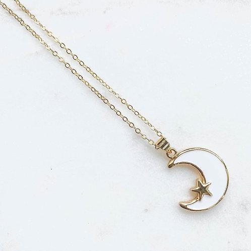 Moon Star Enamel Necklace