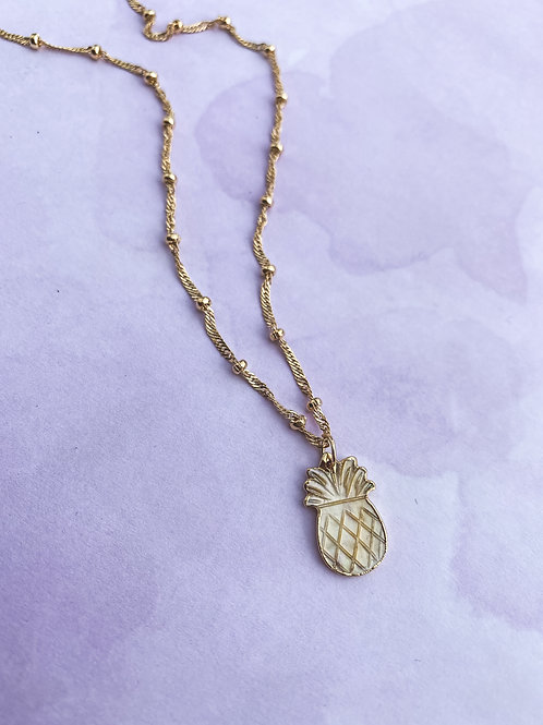 Mother Of Pearl Mini Pineapple Necklace