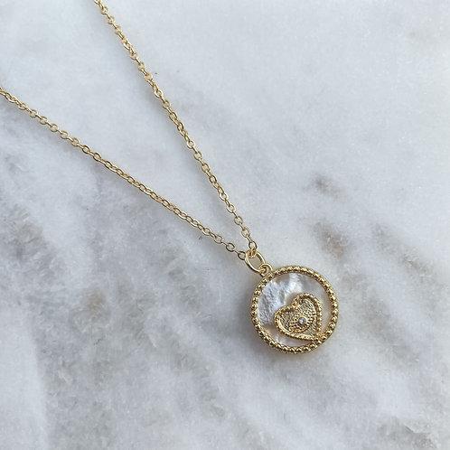 Mother of Pearl & Zirconia Heart Necklace