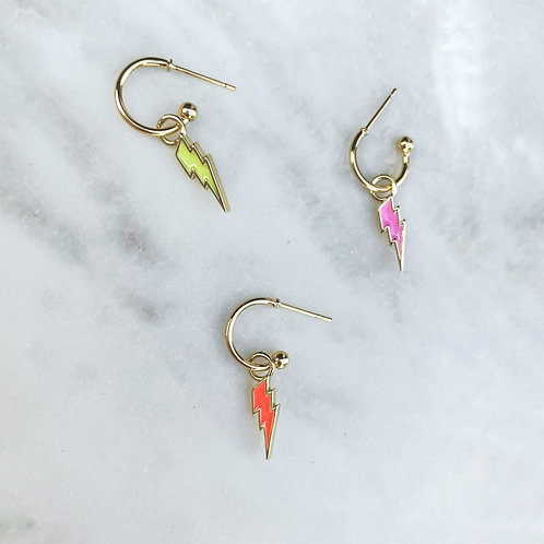 Lightning Bolt Hoop Earrings