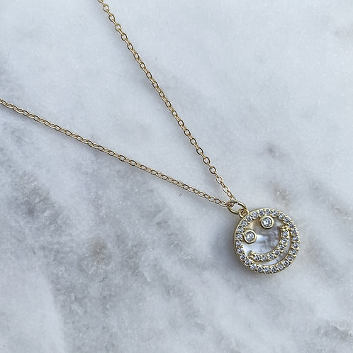 Mother of Pearl & Zirconia Happy Face Necklace