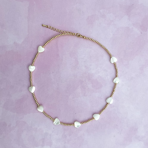 Mother of Pearl Hearts Necklace