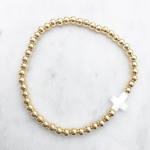 Mother of Pearl Cross Bracelet