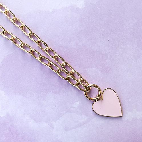 Enamel Heart Necklace With Clasp
