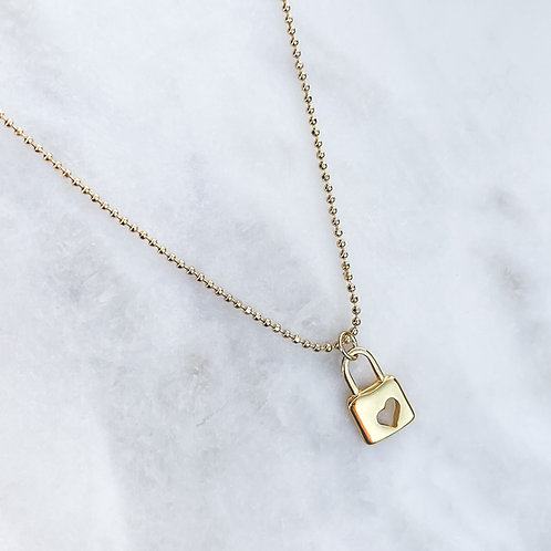 Padlock With Heart Necklace