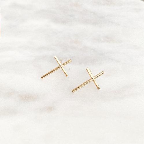 Brazilian Gold Plated Stud Cross Earrings