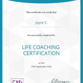 經過幾個月的學習,Joyce完成了Life Coaching的課程,這是我第一個生活/生命/人生教練的證照,接下來還會繼續努力