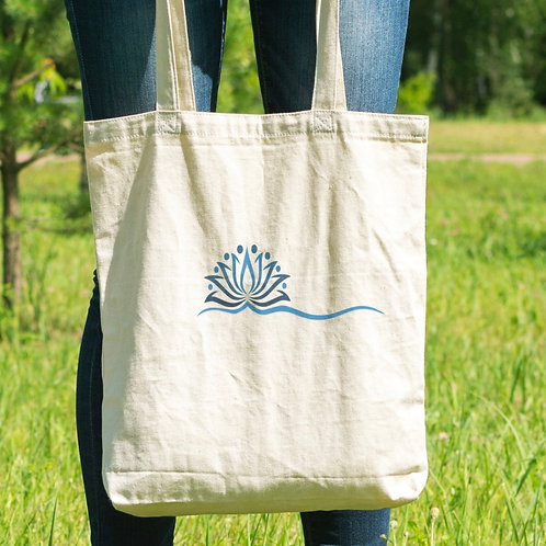 Blue Lotus Natural Canvas Tote Bag