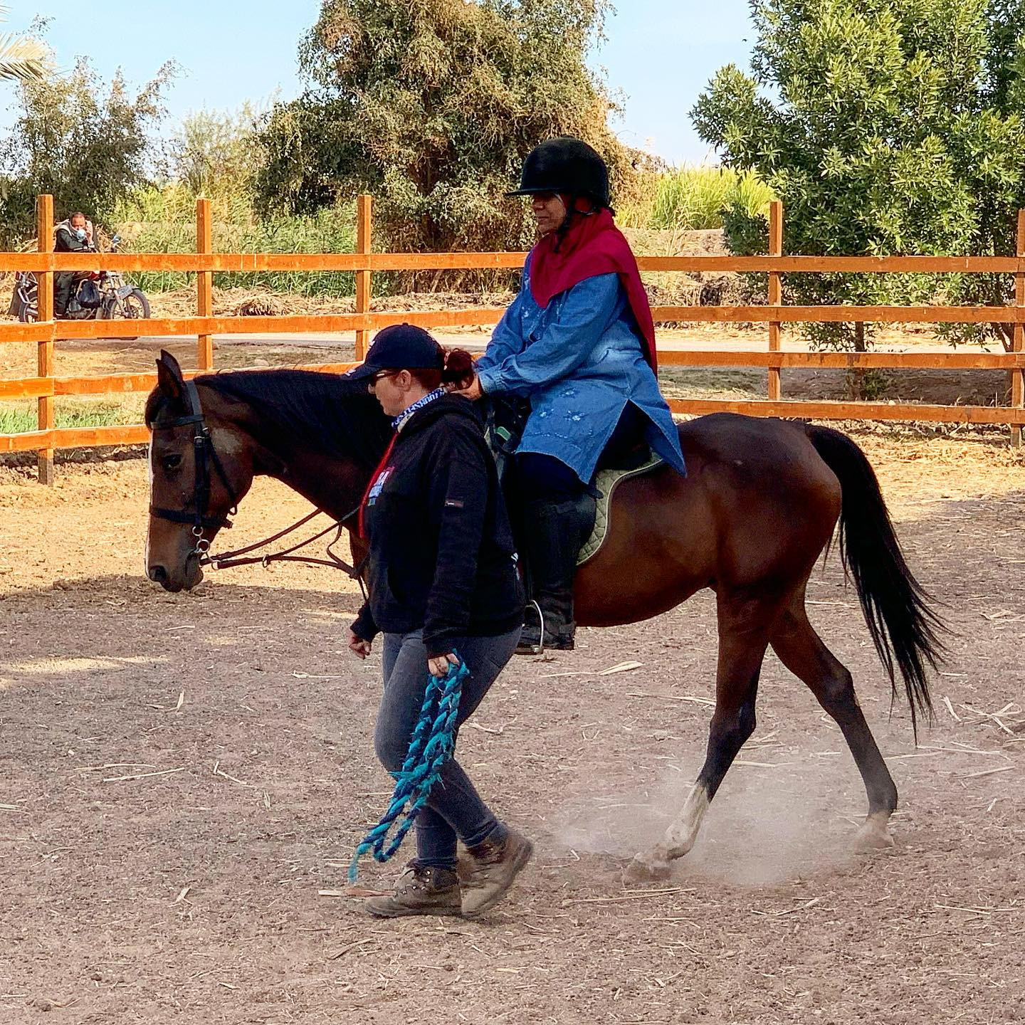 Riding Lessons With An Ancient Back Drop