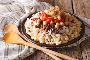 Arabic cuisine: kushari of rice, pasta,