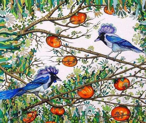 persimmon tree & magpie