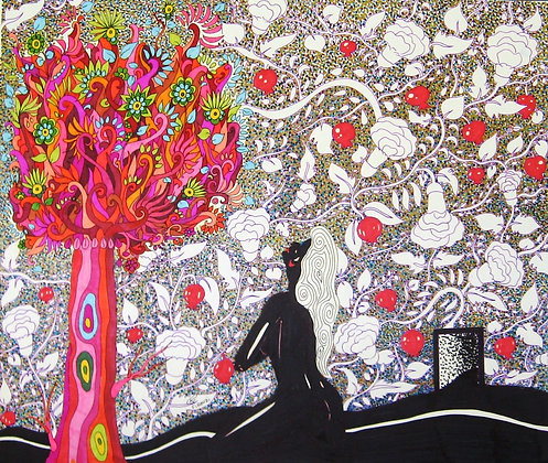 woman and wish tree