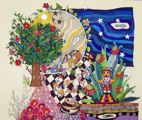 full moon and garden