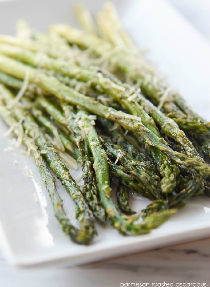 Asiago-parm dusted grilled asparagus