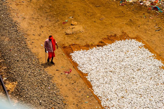A lone pilgrim walks across a fishing vi