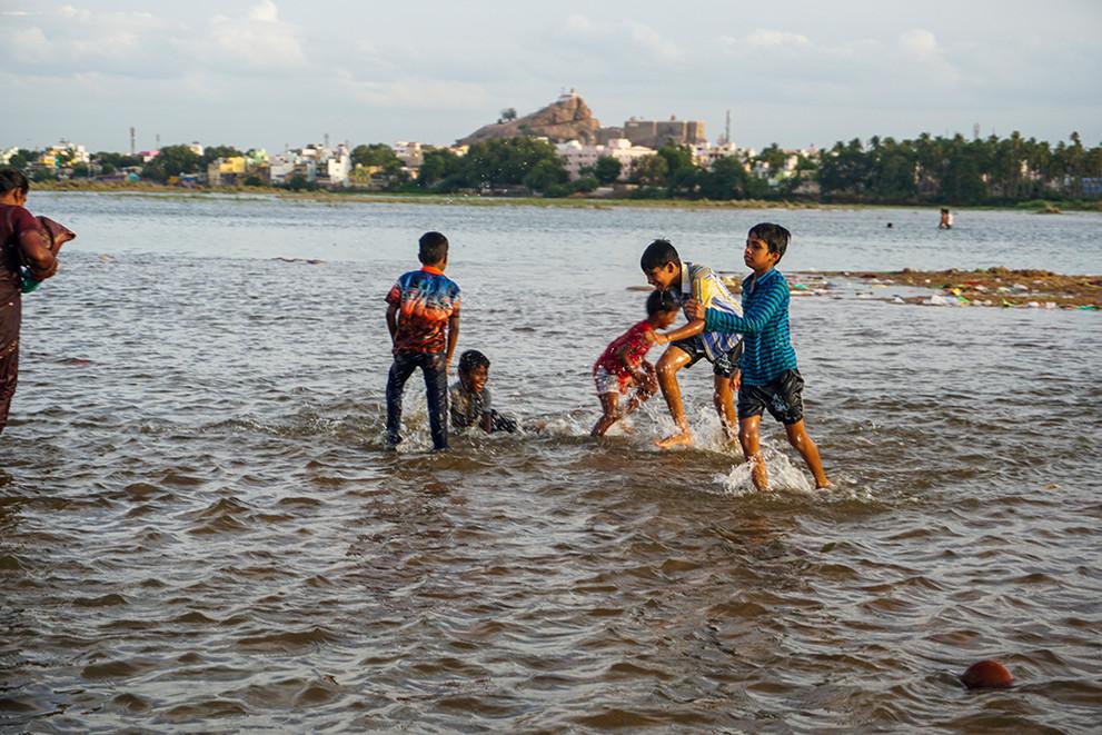 kids playing at the cauvery mahapushkar.