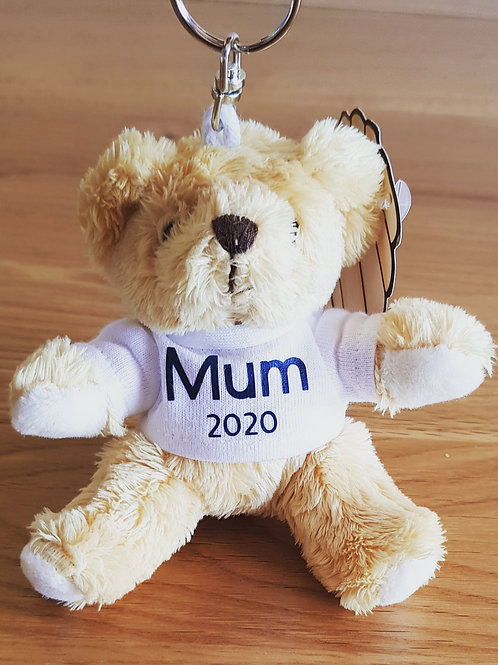 Personalised Mini Teddy Bear Key Ring or Magnetic