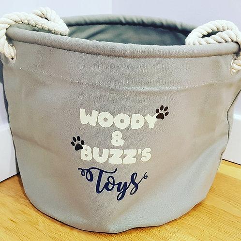 Heavy duty canvas storage basket for dog toys