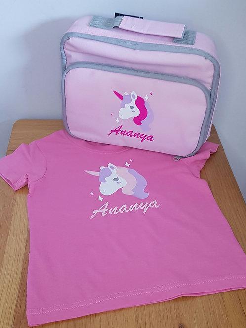 Unicorn Tshirt & Lunchbag Gift Set