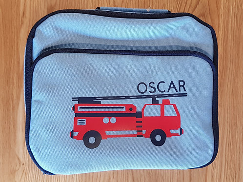 Personalised Lunch Bag - Light Blue Fire Engine