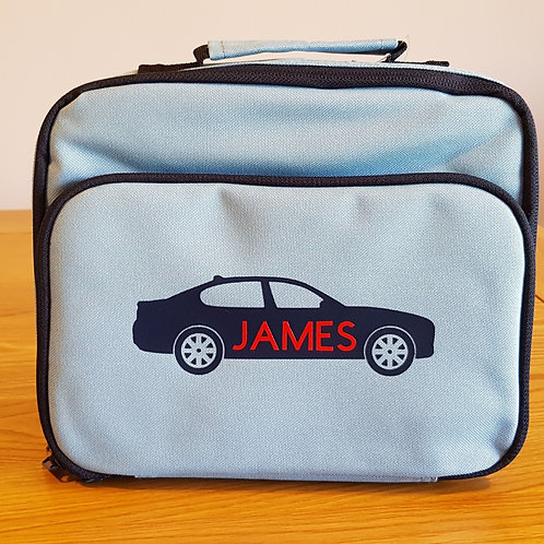 Personalised Lunch Bag - Light Blue Car