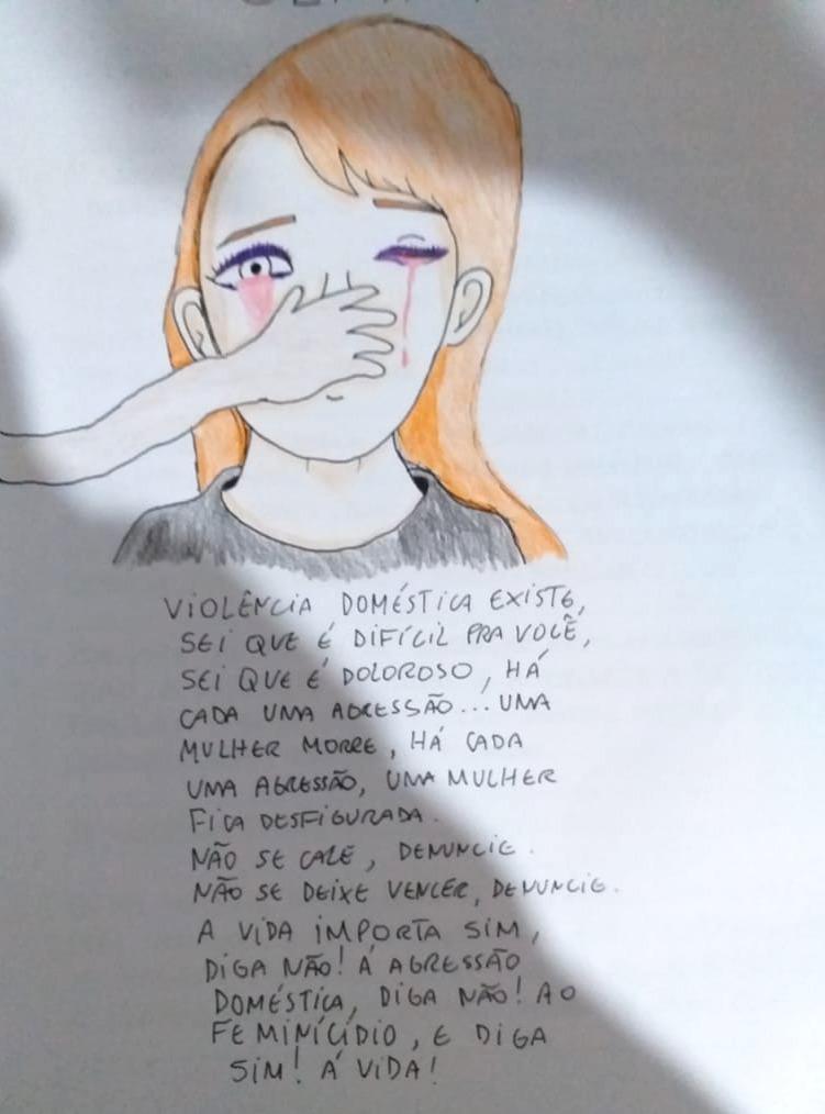 Gisele - Mulheres: Violência Doméstica - Grafite e Color sobre Papel