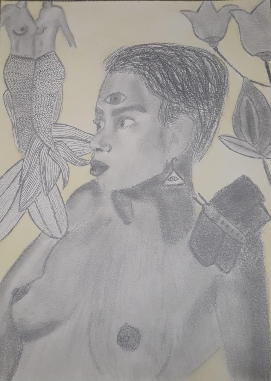 Bianca - Autorretrato - Grafite sobre papel