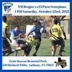 NM Brujos visit El Paso Scorpions this Saturday, October 23rd. High Desert 15s returns next weekend.