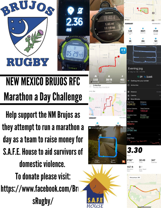 NM Brujos Marathon a Day Challenge and S.A.F.E House Fundraiser week 3 recap: Brujos log over 800 mi